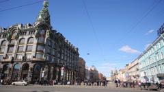 Building of Zinger company  at Nevsky Prospekt Stock Footage