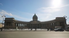 Stock Video Footage of Kazan Cathedral on Nevsky Prospect in St. Petersburg