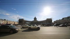 Stock Video Footage of Car traffic against Kazan Cathedral on Nevsky Prospect.