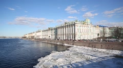 Neva river, State Hermitage Museum and Winter Palace. - stock footage