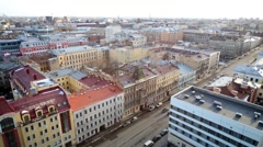 Colourful cityscape of Saint Petersburg, view from above. Stock Footage