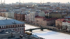 View from above on pedestrian bridge over frozen river. Stock Footage