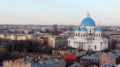 Saint Petersburg cityscape with building of Trinity Cathedral. Stock Footage