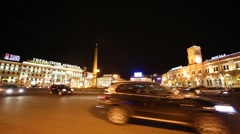 Car traffic on Ploschad Vosstania in St. Petersburg at night Stock Footage