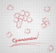 optimization with puzzle pieces - stock illustration