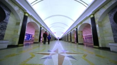 People walk along platform of subway station Admiralteyskaya. Stock Footage