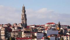 Skyline of the city of Porto with Clerigos Tower Stock Footage