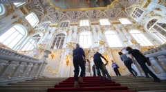 People on the main staircase of Winter Palace - Jordan staircase. Stock Footage