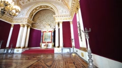 Small Throne Petrovsky Hall in Winter Palace. Stock Footage