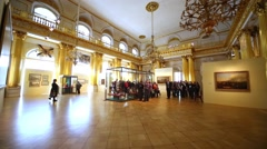 People in the Armorial hall of the Winter Palace. Stock Footage