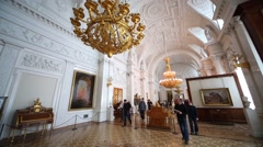 Visitors in White Hall of Winter Palace at State Hermitage. Stock Footage