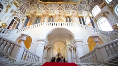 Jordan Gallery and Jordan Staircase in Winter Palace. Stock Footage