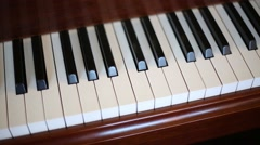 Old piano keyboard and moving keys without pianist. Stock Footage