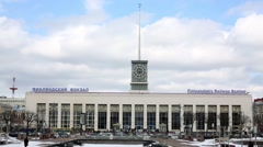 Finlyandsky railway station - one of five in St. Petersburg Stock Footage