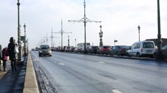 Car traffic on Troitsky Bridge across Neva river. Stock Footage