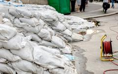 White sandbags Stock Photos