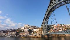 Panorama of Ribeira, Douro River and Dom Luis I bridge. Porto Stock Footage