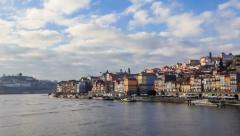 Panorama of the Ribeira, Douro River and Dom Luis I bridge. Porto, Portugal. - stock footage
