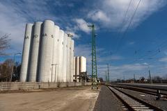 Stock Photo of storage silos in daylight