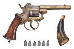 Revolver with bullets and gun powder Stock Photos