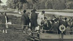 East Germany 1960's: visitors taking the boat Stock Footage