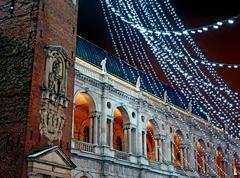 Palladian basilica during a cold winter night Stock Photos