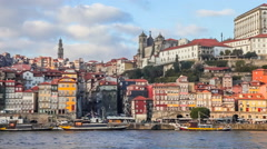 Buildings of the Ribeira District and the Douro River. Porto, Portugal Stock Footage