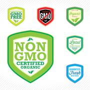 non gmo labels - stock illustration