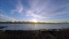 Spectacular New York Sunrise over Hudson River Panoramic NYC UHD 4K Stock Footage