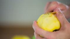 Wrong way peeling apple Stock Footage