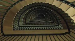 View up the stairs inside the Montfaucon American Memorial, Montfaucon, France. Stock Footage
