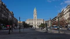 City Hall of Porto and the Aliados Avenue Stock Footage