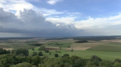 View of storm clouds from the Montfaucon American Memorial, Montfaucon, France. Stock Footage