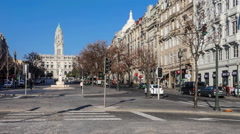 Aliados Avenue with the City Hall of Porto - stock footage