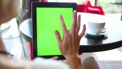 tablet computer vertical green - stock footage