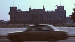 Berlin 1982: traffic in front of the Reichstag Stock Footage