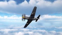 Fighter Airplane P-51 Mustang in dogfight - machine gun attack Stock Footage