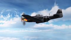 Fighter Airplane P-51 Mustang in dogfight - machine gun attack - stock footage