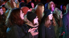 Fans at a rock concert listening to the idols. - stock footage
