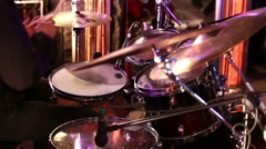The drummer plays at a rock concert. Stock Footage