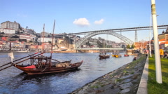 Rabelo Boats, Ribeira District and Dom Luis I Bridge. Porto, Portugal Stock Footage