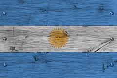 argentina national flag painted old oak wood fastened - stock photo
