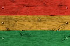 bolivia civil flag painted old oak wood fastened - stock photo