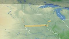 Iowa state (USA) extruded. Physical map. Stock Footage