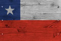 chile national flag painted old oak wood fastened - stock photo