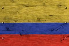 colombia national flag painted old oak wood fastened - stock photo