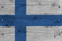 Finland national flag painted old oak wood fastened Stock Illustration