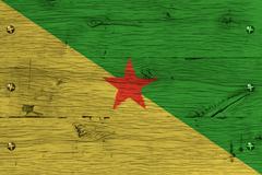 french guiana national flag painted old oak wood fastened - stock photo