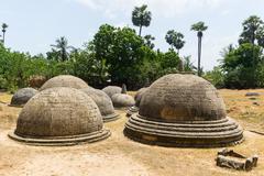 Ancient mysterious stupas Stock Photos