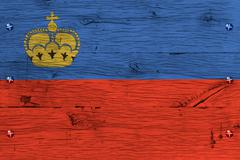liechtenstein national flag painted old oak wood fastened - stock photo